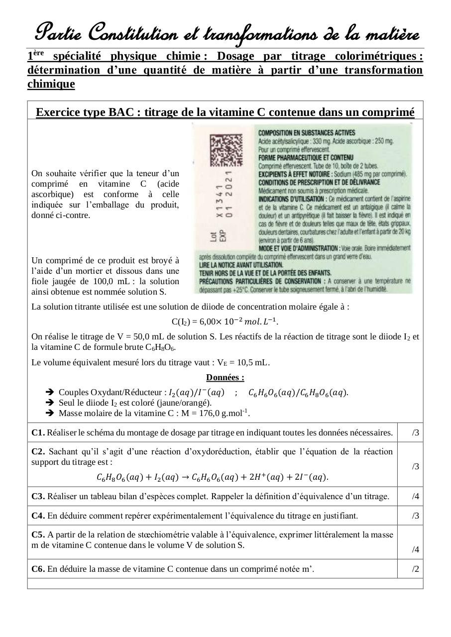 Exercice - Dosage par titrage colorimétrique + incertitudes type B.pdf - page 1/2